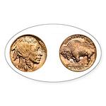 Nickel Indian-Buffalo Oval Sticker (50 pk)