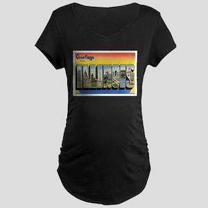 Illinois Postcard Maternity Dark T-Shirt