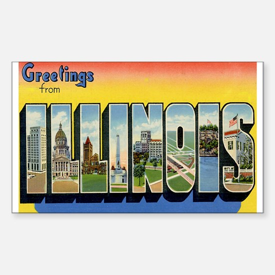 Illinois Postcard Rectangle Decal
