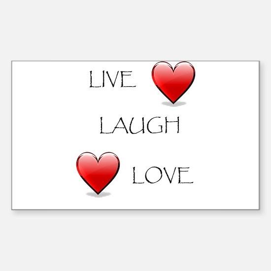 Live Laugh Love Hearts Rectangle Sticker 10 pk)