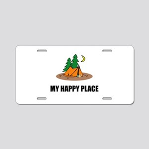 My Happy Place Camping Tent Aluminum License Plate