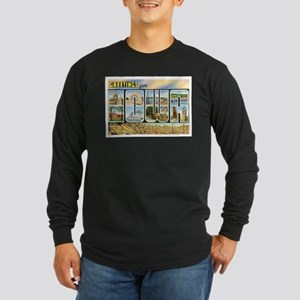 Iowa Postcard Long Sleeve Dark T-Shirt
