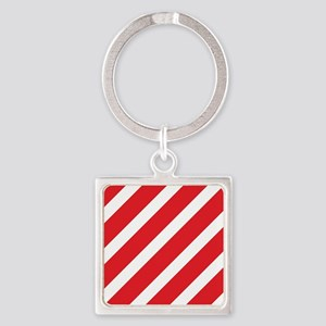 Red Striped Square Keychain