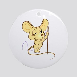 Sewing Mouse - Needle and Thr Ornament (Round)