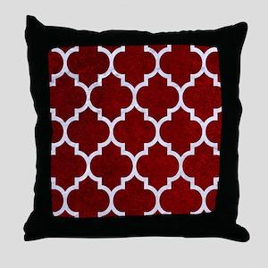 TILE1 WHITE MARBLE & RED GRUNGE Throw Pillow