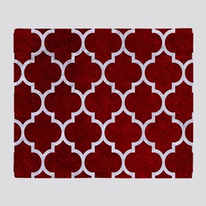 TILE1 WHITE MARBLE & RED GRUNGE Throw Blanket