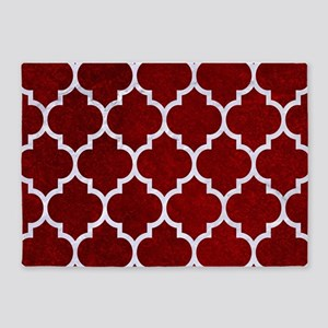 TILE1 WHITE MARBLE & RED GRUNGE 5'x7'Area Rug