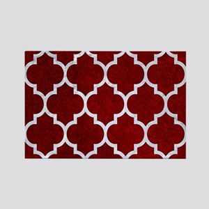 TILE1 WHITE MARBLE & RED GRUNGE Rectangle Magnet