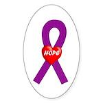 Purple Hope Oval Sticker (10 pk)