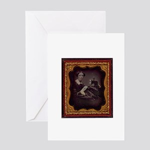 Antique Seamstress Portrait Greeting Card