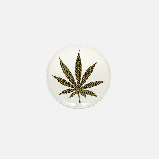 Camouflage Weed Leaf Mini Button