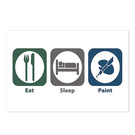 Eat Sleep Paint Postcards (Package of 8)
