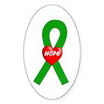 Green Hope Oval Sticker (10 pk)