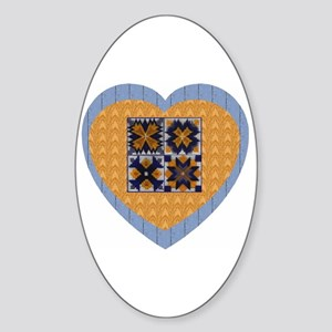 Quilt Heart Oval Sticker