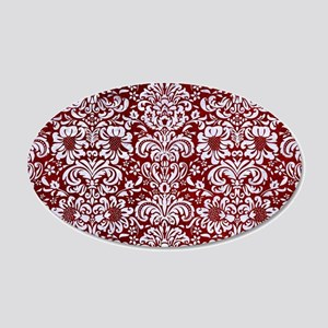 DAMASK2 WHITE MARBLE & RED G 20x12 Oval Wall Decal
