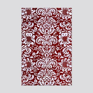 DAMASK2 WHITE MARBLE & RED GRUNG Mini Poster Print