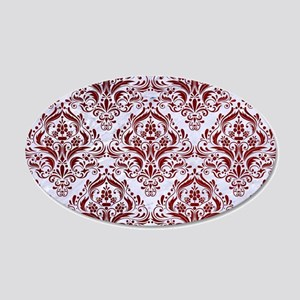 DAMASK1 WHITE MARBLE & RED G 20x12 Oval Wall Decal