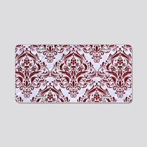 DAMASK1 WHITE MARBLE & RED Aluminum License Plate