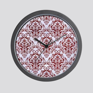 DAMASK1 WHITE MARBLE & RED GRUNGE (R) Wall Clock
