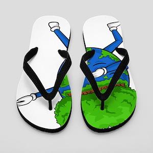Happy Earth Day - Funny Dabbing Earth Flip Flops