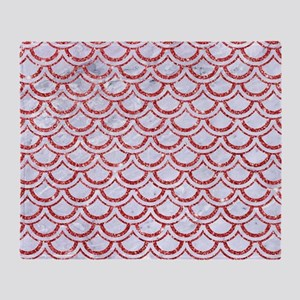 SCALES2 WHITE MARBLE & RED GLITTER ( Throw Blanket