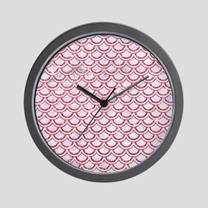 SCALES2 WHITE MARBLE & RED GLITTER (R) Wall Clock