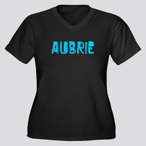 Aubrie Faded (Blue) Women's Plus Size V-Neck Dark