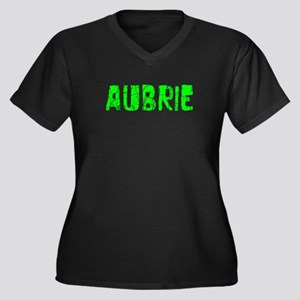 Aubrie Faded (Green) Women's Plus Size V-Neck Dark