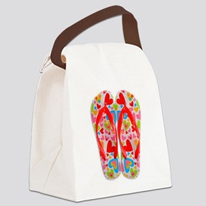 FLIP FLOPS WITH HEARTS Canvas Lunch Bag