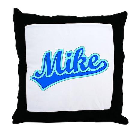 Retro Mike (Blue) Throw Pillow