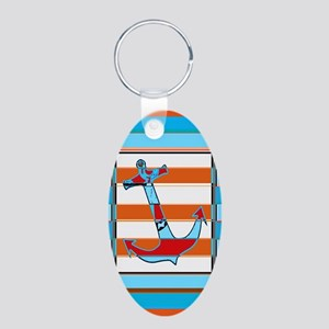 ANCHOR BLUE DOUBLE ORANGE LINES Keychains