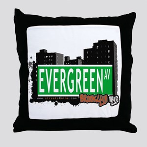 Evergreen Av, BROOKLYN, NYC Throw Pillow