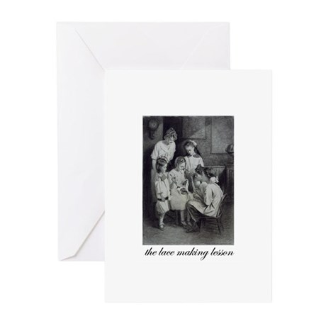 The Lace Making Lesson Greeting Cards (Pk of 10)