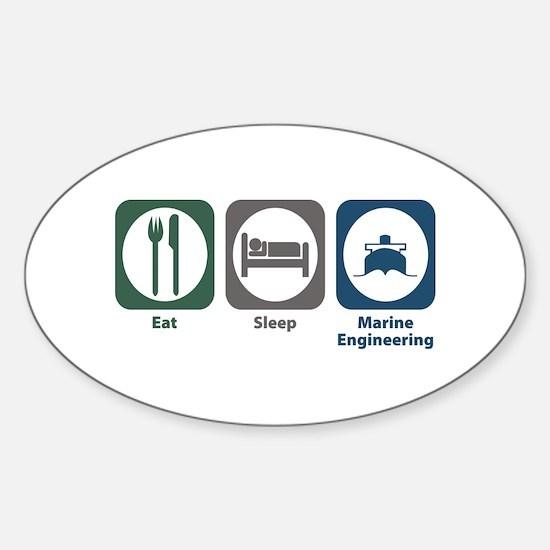 Eat Sleep Marine Engineering Oval Decal