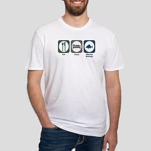 Eat Sleep Marine Biology Fitted T-Shirt