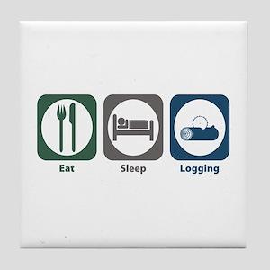 Eat Sleep Logging Tile Coaster