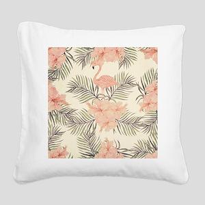 Vintage Flamingo Square Canvas Pillow