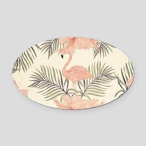 Vintage Flamingo Oval Car Magnet