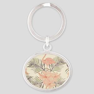 Vintage Flamingo Oval Keychain