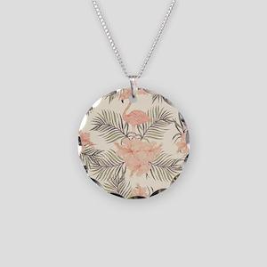 Vintage Flamingo Necklace Circle Charm