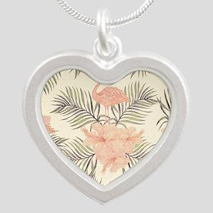 Vintage Flamingo Silver Heart Necklace