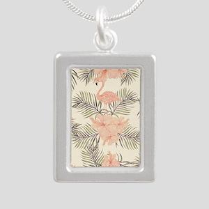 Vintage Flamingo Silver Portrait Necklace