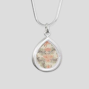 Vintage Flamingo Silver Teardrop Necklace