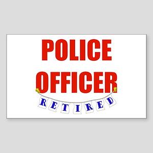 Retired Police Officer Rectangle Sticker