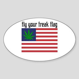 Fly Your Freak Flag! Oval Sticker