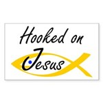 Hooked on Jesus Rectangle Sticker