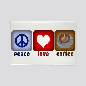 Peace Love and Coffee Tiles Rectangle Magnet