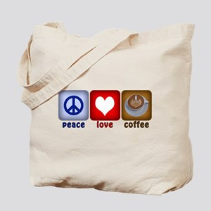 Peace Love and Coffee Tiles Tote Bag