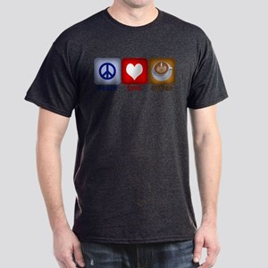 Peace Love and Coffee Tiles Dark T-Shirt