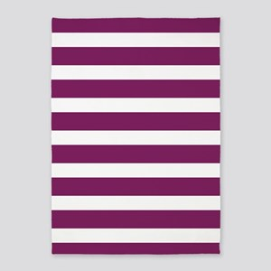 Magenta Striped 5'x7'Area Rug